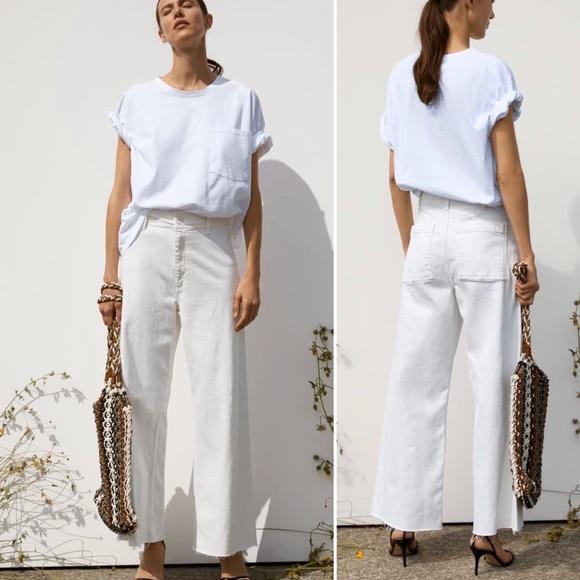 Zara Jeans Zara Cream Zw Premium Marine Straight Jeans New Poshmark